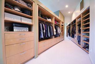 Contemporary Closet with Custom shoe rack, High ceiling, Custom closet storage, Carpet