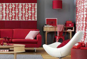 Contemporary Living Room with Pendant light, Art desk, High ceiling, Hardwood floors