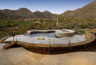 Contemporary Swimming Pool with exterior concrete tile floors, Raised beds, Fire pit, Fence, exterior tile floors