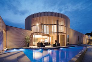 Contemporary Swimming Pool with exterior stone floors, Pathway, French doors, Other Pool Type, picture window