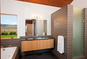 Contemporary Master Bathroom with European Cabinets, Flush, Arizona Tile, Ural Gray, Quartz, Soapstone counters, Double sink