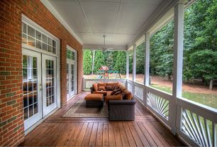 Traditional Porch with Wrap around porch, French doors, Transom window, Deck Railing