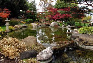 Asian Landscape/Yard with Pond, Stone age creations la-kr-18 granite kodai rokkaku yukimi lantern