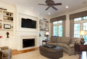 """Traditional Living Room with Crown molding, Emerson CF905ORB Oil Rubbed Bronze Prima Snugger 52"""" 5 Blade Ceiling Fan"""