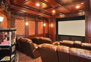 Traditional Home Theater with Standard height, Carpet, Box ceiling, Crown molding, Wainscotting, Wall sconce, can lights