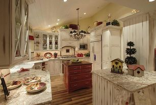 Country Kitchen with MS International  Bianco Antico, MS International - Absolute Black Granite Countertop, Chandelier