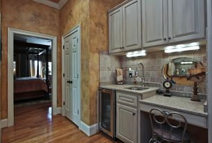 Eclectic Bar with interior wallpaper, Hardwood floors, Crown molding, flush light, French doors