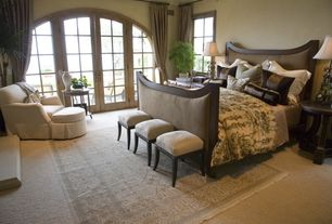 Eclectic Master Bedroom with picture window, Area rug, Paint, Standard height, French doors, Carpet