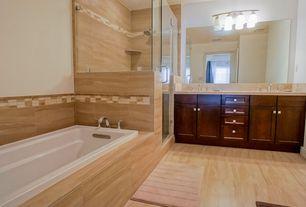 Contemporary Master Bathroom with Undermount sink, Limestone counters, specialty door, Double sink, frameless showerdoor
