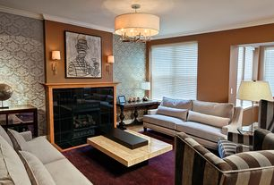 Eclectic Living Room with Hardwood floors, Chandelier, Wall sconce, Paidge sofa, Crown molding, interior wallpaper