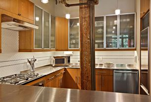 Modern Kitchen with Subway Tile, European Cabinets, Flush, Undermount sink, U-shaped, High ceiling, Glass panel