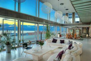 Modern Great Room with Pendant light, Moooi - Random Light in White, sandstone tile floors, flush light, Cathedral ceiling