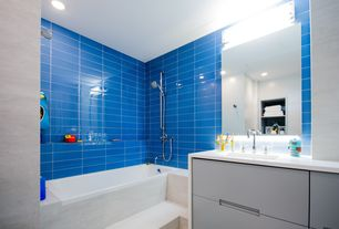 Contemporary Full Bathroom with Mod Walls Lush True Blue - 3x6 Glass Subway Tile, European Cabinets, Undermount sink, Flush