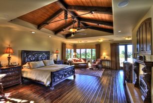 Eclectic Master Bedroom with Hardwood floors, Ceiling fan, High ceiling, French doors, Exposed beam, flush light