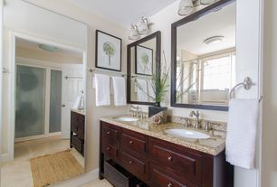 Traditional Master Bathroom with Double sink, Danny Contemporary Warm Chocolate Bathroom Vanity, Rain shower, Master bathroom