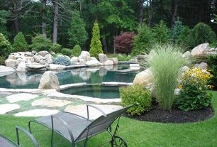 Rustic Swimming Pool with Pool with hot tub, Pathway, exterior stone floors