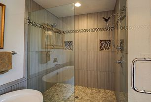 Contemporary Master Bathroom with Master bathroom, Daltile Color Wave Evening Mixer Brick-Joint Mosaic, Handheld showerhead