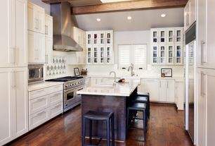 Contemporary Kitchen with Ann Sacks Earthenware Elements Square Field Tile, Farmhouse sink, Exposed beam, Skylight, Flush