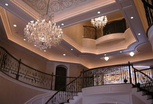 Traditional Staircase with Cathedral ceiling, Chair rail, Loft, Crown molding, Chandelier, Wainscotting, Exposed beam
