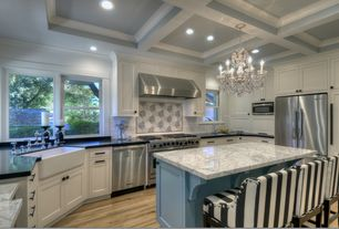 Contemporary Kitchen with U-shaped, Flat panel cabinets, Complex marble counters, Inset cabinets, Farmhouse sink, Subway Tile