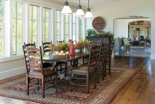 Eclectic Dining Room with Quoizel GRT1508PN Palladian Bronze Grant 1 Light Mini Pendant with Opal Etched Glass, can lights