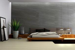 Contemporary Master Bedroom with Modloft Furniture Worth King Bed, Pendant light, Carpet, High ceiling, interior wallpaper