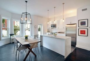 Modern Kitchen with stone tile floors, double-hung window, French doors, Flush, Breakfast nook, drop-in sink, Standard height
