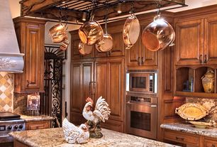 Mediterranean Kitchen with Complex Granite, All-Clad Copper Clad 10-Piece Cookware Set, Custom hood, flush light, L-shaped