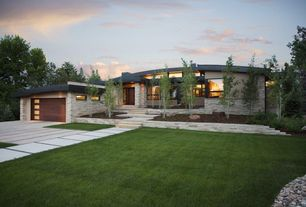 Contemporary Exterior of Home with Outdoor lawn, Stone steps