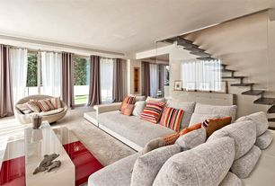 Contemporary Living Room with Standard height, Carpet, picture window