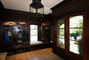 Traditional Mud Room with Built-in bookshelf, French doors, Crown molding, simple marble floors, Window seat, Chandelier