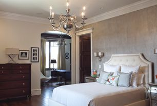 Traditional Master Bedroom with Crown molding, Wall sconce, Standard height, interior wallpaper, Chandelier, Hardwood floors