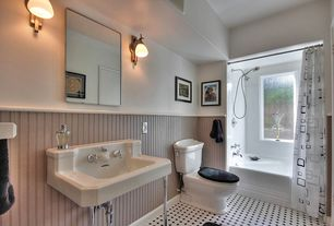 Cottage Full Bathroom with Handheld showerhead, Wainscotting, Classic 3-Wall Alcove White Tub, tiled wall showerbath