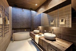 Eclectic Master Bathroom with tiled wall showerbath, Freestanding, Stone Tile, Vessel sink, Free standing tub filler