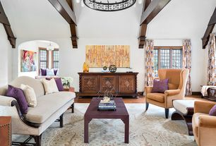 Traditional Living Room with Paint, Casement, Chandelier, Hardwood floors, High ceiling, Exposed beam, Victor armchair