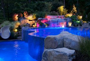 Rustic Swimming Pool with Raised beds, Pool with hot tub