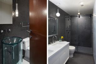 Contemporary 3/4 Bathroom with flat door, Standard height, flush light, Flush, Wall Tiles, three quarter bath, Double sink