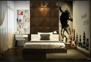 Eclectic Kids Bedroom with Hardwood floors, Art desk, Baxton studio spring plastic modern dining chair, interior wallpaper