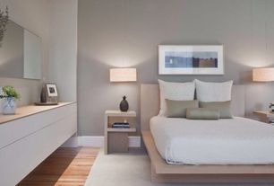 Contemporary Master Bedroom with Gea Suspension Light - Ivory, Mondrian Mirror 22x80, Pendant light, Hardwood floors