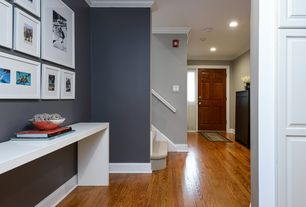 Transitional Hallway with Hardwood floors, Crown molding