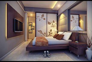 Contemporary Master Bedroom with can lights, Standard height, specialty door, Concrete floors