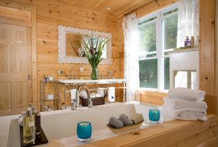 Rustic Master Bathroom with Pine Plank Walls (1 in. x 6 in. x 8 ft. Tongue & Groove Board), Double sink, Undermount sink