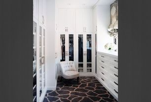 Closet with Built-in bookshelf, Safavieh Carlin Tufted Slipper Chair, Trans Ocean Rugs Seville 9642/48 Giraffe Black, Carpet