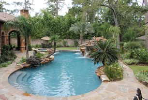 Tropical Swimming Pool with Pool with hot tub, Fountain, Fence