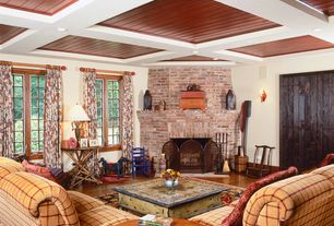 Country Living Room with Wall sconce, Box ceiling, Hardwood floors