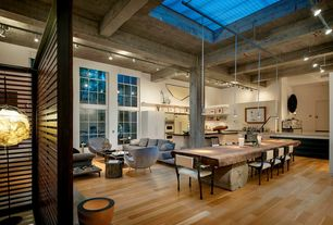Eclectic Great Room with Columns, Pendant light, Skylight, Tiella sola 1 light pendant, Exposed beam, flush light