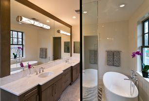 Contemporary Master Bathroom with Double sink, Simple marble counters, European Cabinets, Simple Marble, Master bathroom