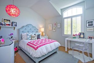 Traditional Kids Bedroom with Arched window, no bedroom feature, Standard height, Kartell crystal louis ghost chair, Carpet