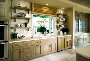 Traditional Kitchen with Flat panel cabinets, Inset cabinets, Corian counters, Undermount sink, One-wall, Kitchen island