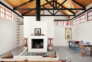 Eclectic Great Room with High ceiling, Fireplace, Cement fireplace, picture window, flush light, Concrete floors
